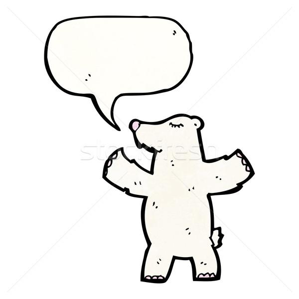 Desenho animado urso polar balão de fala falante retro desenho Foto stock © lineartestpilot