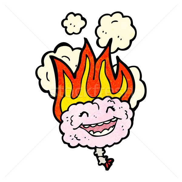 Desen animat in flacari creier retro desen drăguţ Imagine de stoc © lineartestpilot