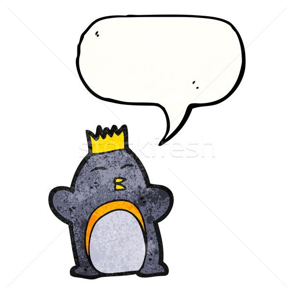 Desenho animado imperador pinguim retro coroa desenho Foto stock © lineartestpilot