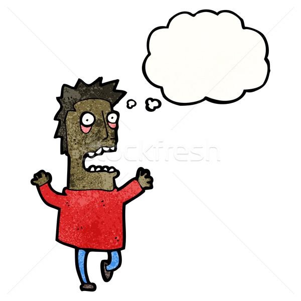 Cartoon przerażony człowiek sztuki pioruna retro Zdjęcia stock © lineartestpilot