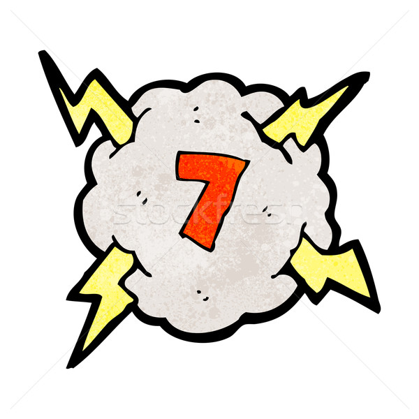 cartoon thunder cloud with number 7 Stock photo © lineartestpilot