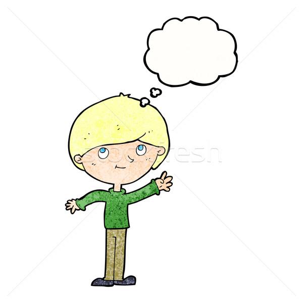 Cartoon burbuja de pensamiento mano hombre feliz Foto stock © lineartestpilot