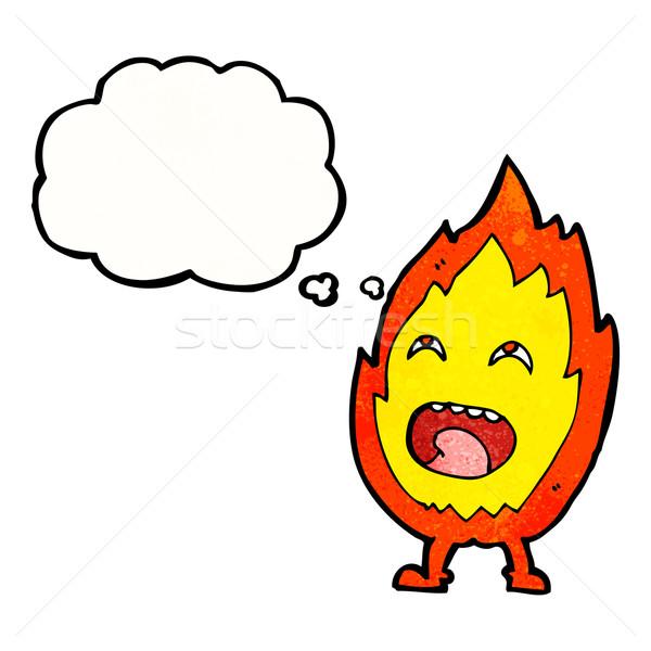 Cartoon fiamma carattere bolla di pensiero mano design Foto d'archivio © lineartestpilot