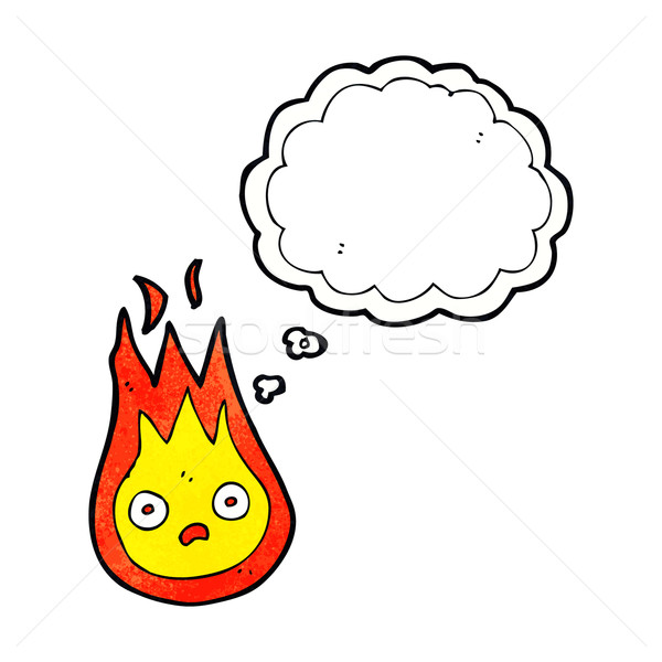 Desenho animado amigável fireball balão de pensamento mão projeto Foto stock © lineartestpilot