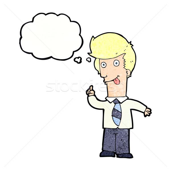 Cartoon ufficio uomo Crazy idea bolla di pensiero Foto d'archivio © lineartestpilot