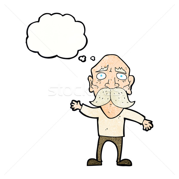 cartoon worried old man with thought bubble Stock photo © lineartestpilot