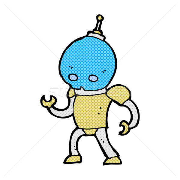 Cômico desenho animado alienígena robô retro Foto stock © lineartestpilot