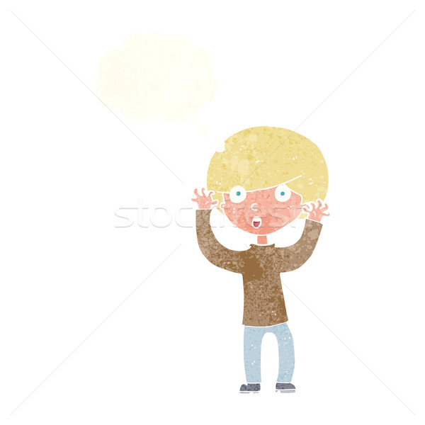 cartoon startled boy with thought bubble Stock photo © lineartestpilot