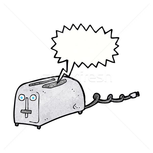 Cartoon тостер речи пузырь стороны дизайна Crazy Сток-фото © lineartestpilot