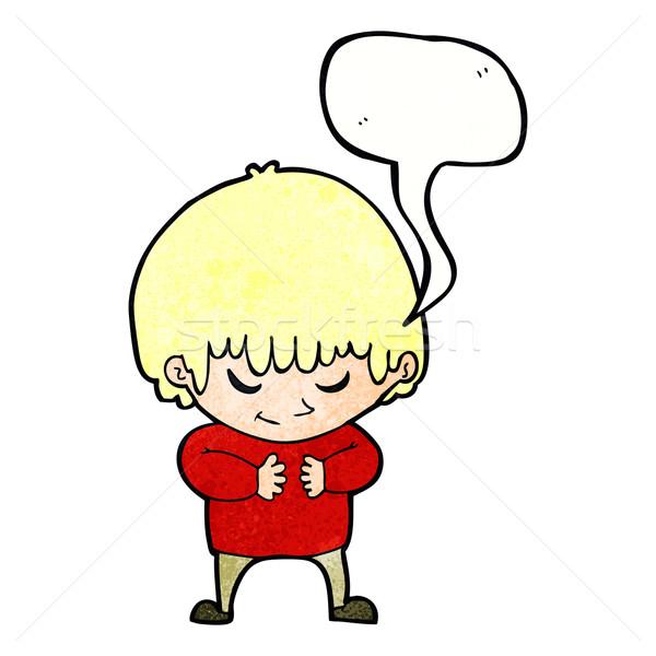 Cartoon verlegen jongen tekstballon hand gelukkig Stockfoto © lineartestpilot