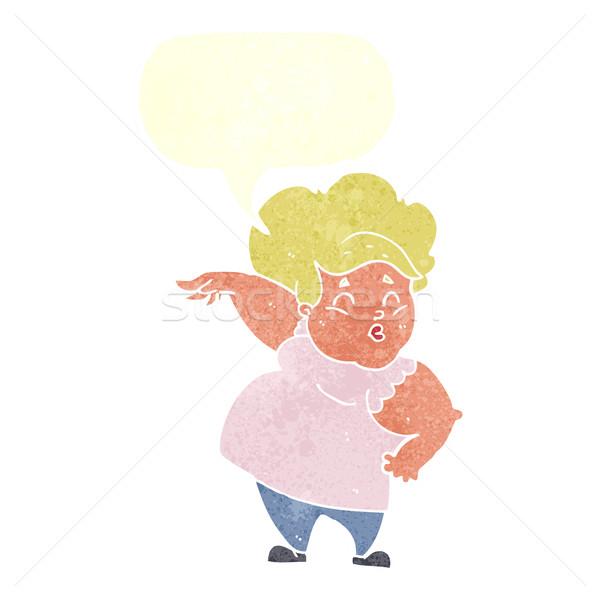 Cartoon счастливым избыточный вес Lady речи пузырь стороны Сток-фото © lineartestpilot