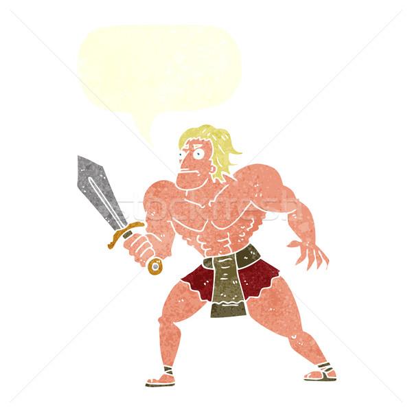 cartoon fantasy hero man with speech bubble Stock photo © lineartestpilot