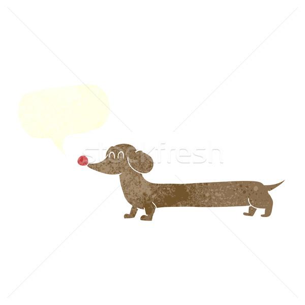 Cartoon такса речи пузырь стороны собака дизайна Сток-фото © lineartestpilot
