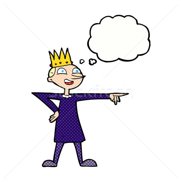 Karikatür işaret prens düşünce balonu el mutlu Stok fotoğraf © lineartestpilot