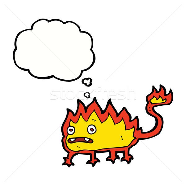 Cartoon мало огня демон мысли пузырь стороны Сток-фото © lineartestpilot