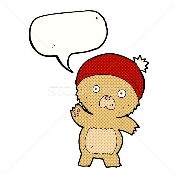 Cute cartoon teddybeer tekstballon hand ontwerp Stockfoto © lineartestpilot
