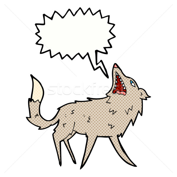 cartoon snapping wolf with speech bubble Stock photo © lineartestpilot