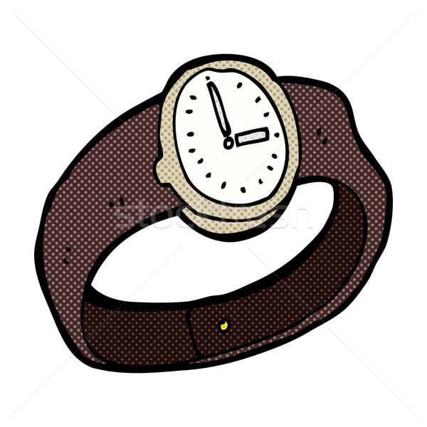 Comic Karikatur Armbanduhr Retro Comic Stil Stock foto © lineartestpilot