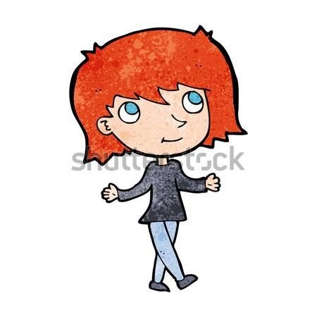 Képregény rajz lány semmi gond retro képregény Stock fotó © lineartestpilot