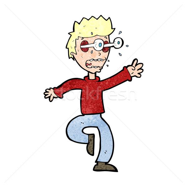 Cartoon przerażony człowiek oczy na zewnątrz strony Zdjęcia stock © lineartestpilot