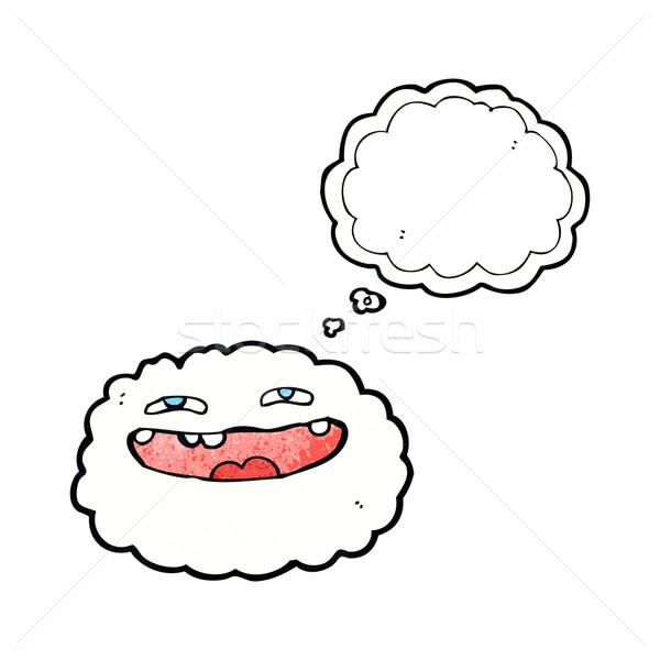 Mutlu karikatür bulut düşünce balonu el yüz Stok fotoğraf © lineartestpilot