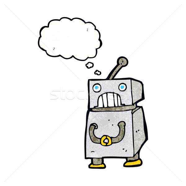 Foto stock: Cartoon · robot · burbuja · de · pensamiento · mano · diseno · arte