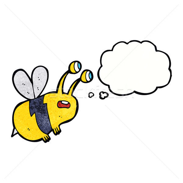 cartoon frightened bee with thought bubble Stock photo © lineartestpilot