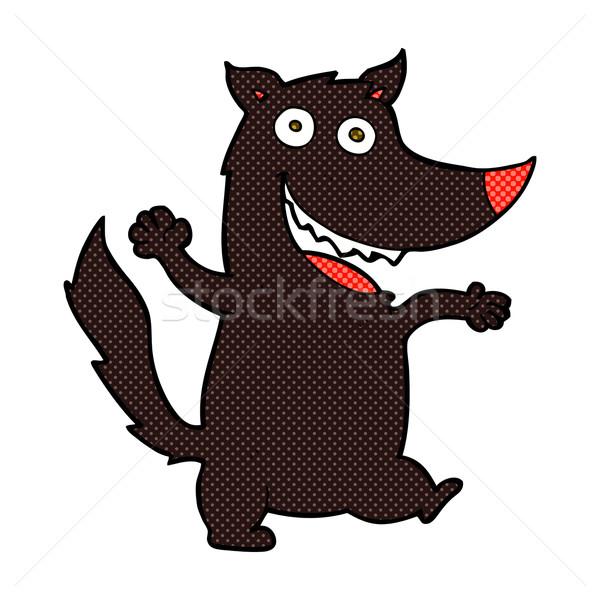 Képregény rajz boldog farkas retro képregény Stock fotó © lineartestpilot