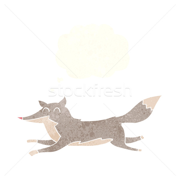 Stock photo: cartoon running wolf with thought bubble