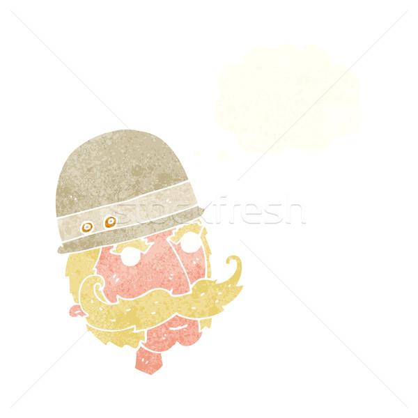 Desenho animado grande jogo caçador balão de pensamento mão Foto stock © lineartestpilot