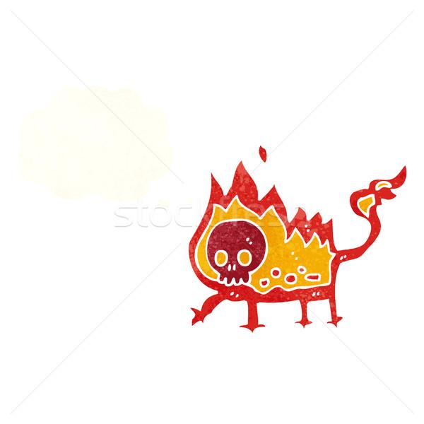 Cartoon mały ognia demon bubble myśl strony Zdjęcia stock © lineartestpilot