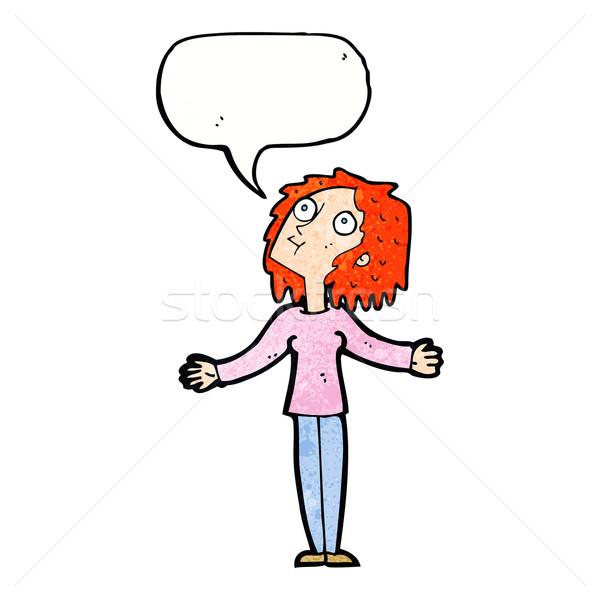 cartoon curious woman looking upwards with speech bubble Stock photo © lineartestpilot