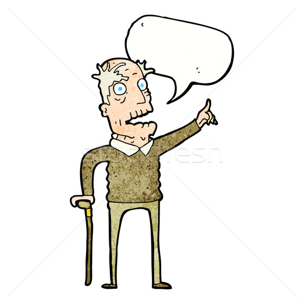 cartoon old man with walking stick with speech bubble Stock photo © lineartestpilot