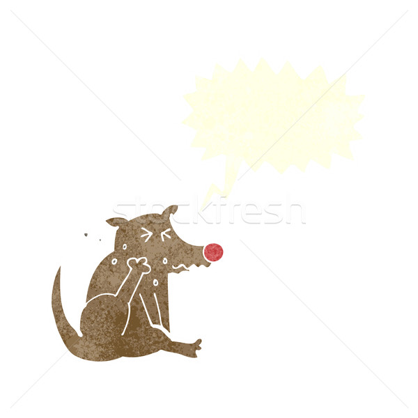 cartoon dog scratching with speech bubble Stock photo © lineartestpilot