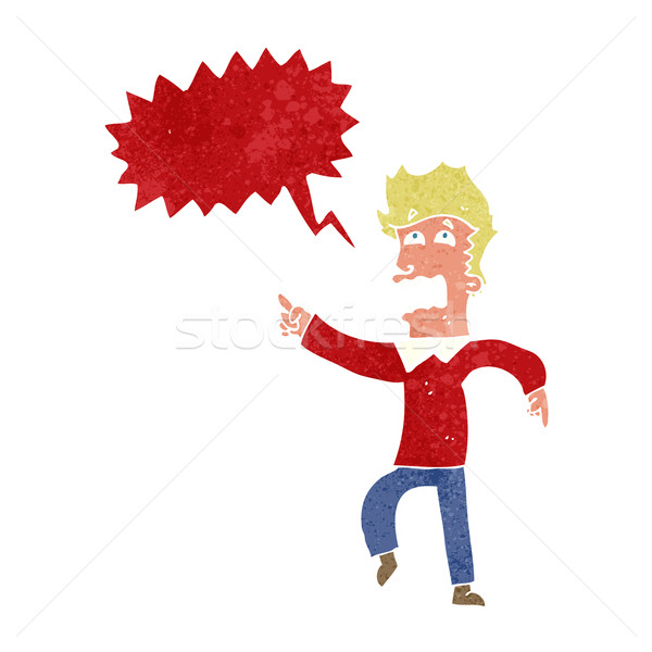 Cartoon asustado hombre senalando bocadillo mano Foto stock © lineartestpilot