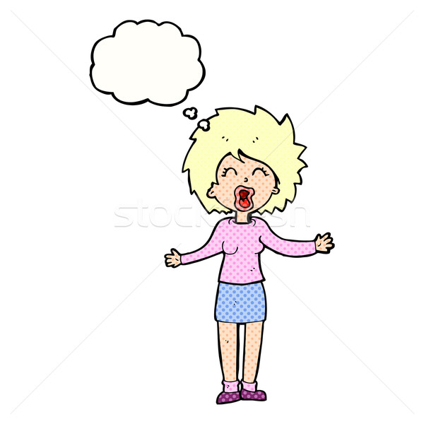 cartoon loud woman with thought bubble Stock photo © lineartestpilot