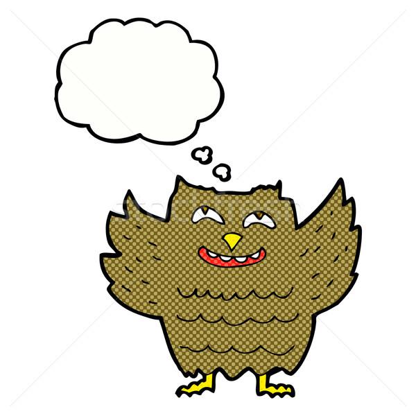 Desenho animado feliz coruja balão de pensamento mão projeto Foto stock © lineartestpilot