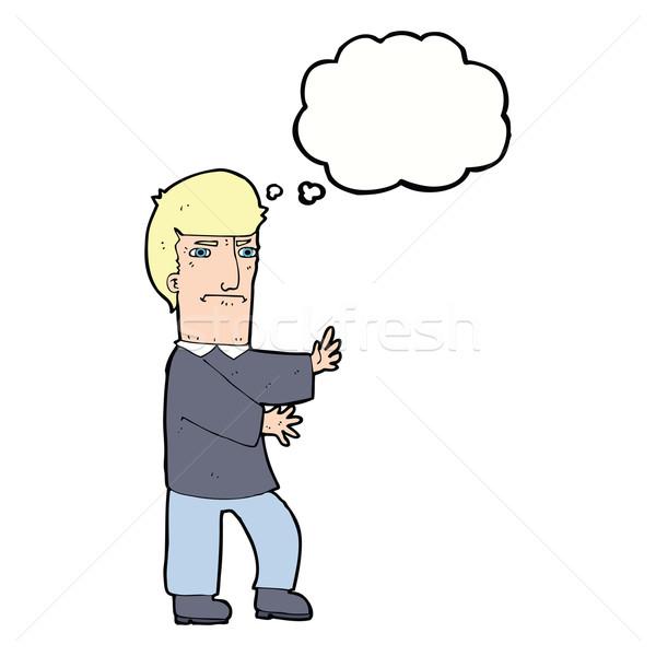 Cartoon grincheux homme bulle de pensée main design Photo stock © lineartestpilot
