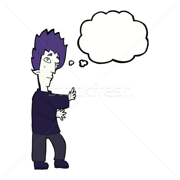 Cartoon вампир мысли пузырь стороны дизайна Crazy Сток-фото © lineartestpilot