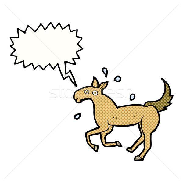 Rajz ló izzadás szövegbuborék kéz terv Stock fotó © lineartestpilot