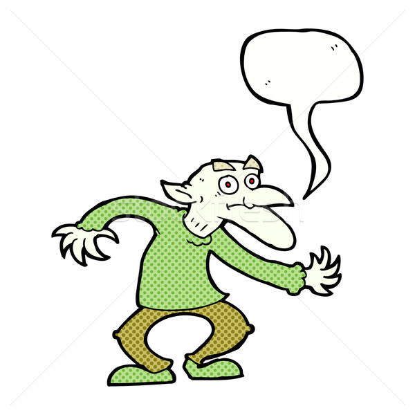 Stock photo: cartoon goblin with speech bubble
