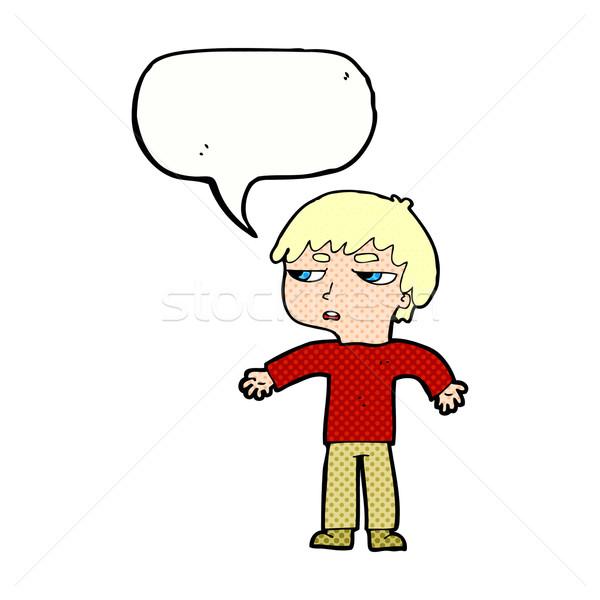 cartoon annoyed boy with speech bubble Stock photo © lineartestpilot