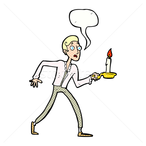 cartoon frightened man walking with candlestick with speech bubb Stock photo © lineartestpilot