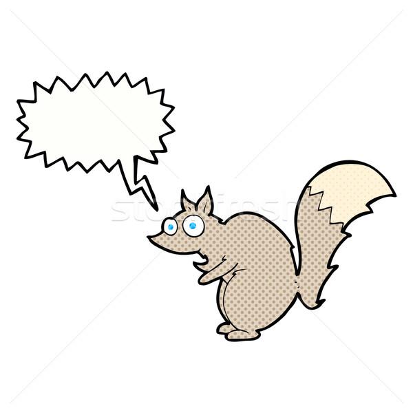 Komik sincap karikatür konuşma balonu el dizayn Stok fotoğraf © lineartestpilot