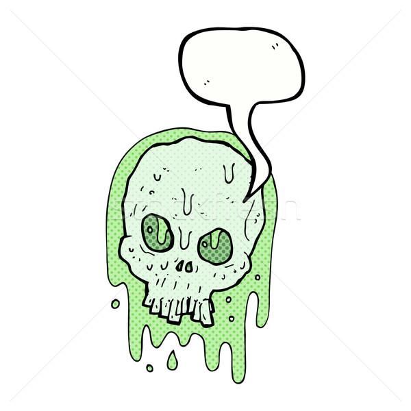 cartoon slimy skull with speech bubble Stock photo © lineartestpilot