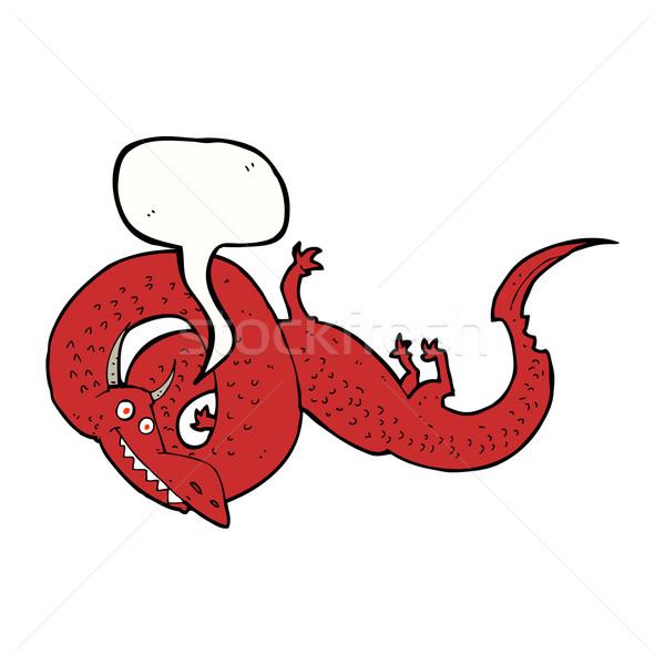 Cartoon Китайский дракон речи пузырь стороны дизайна искусства Сток-фото © lineartestpilot