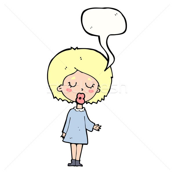 Cartoon mujer punto bocadillo mano Foto stock © lineartestpilot