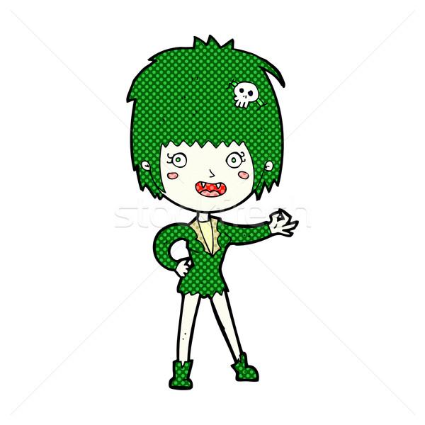 Komiks cartoon wampira dziewczyna retro komiks Zdjęcia stock © lineartestpilot