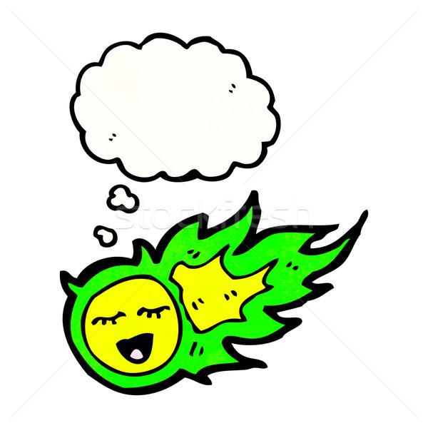 Verde fireball fantasma desenho animado textura mão Foto stock © lineartestpilot