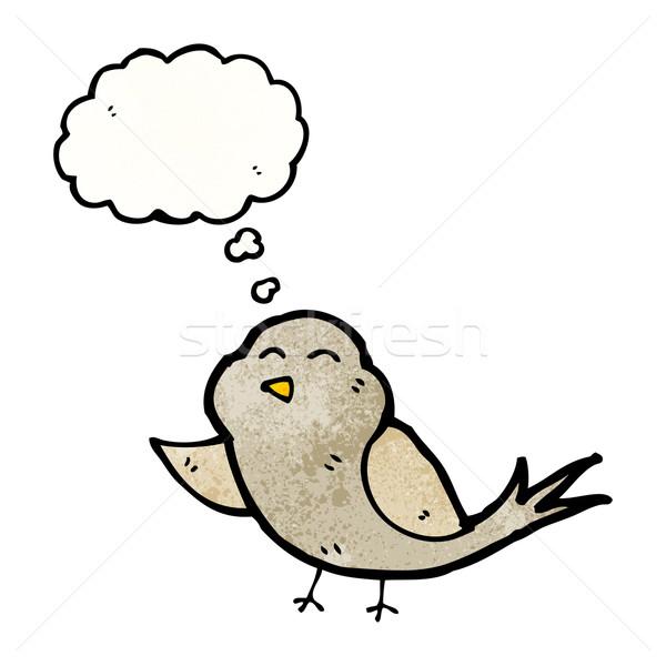 Stock fotó: Rajz · madár · gondolatbuborék · beszél · retro · gondolkodik